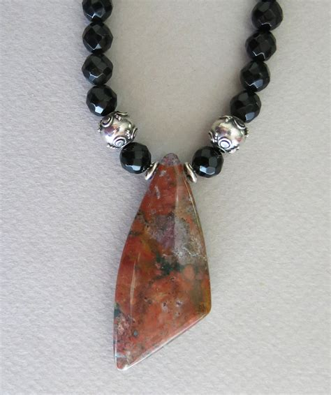 handmade onyx and jasper necklace with earrings