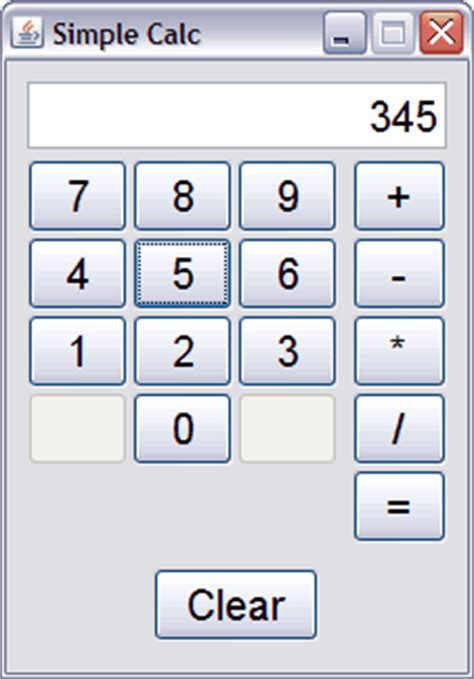 calculator program in java using swing java exle simple calculator