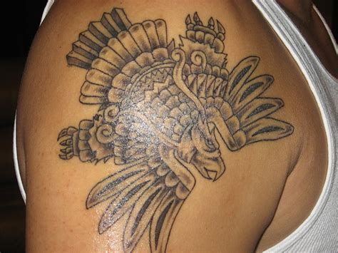 aztec rose tattoo grey ink aztec eagle on right shoulder