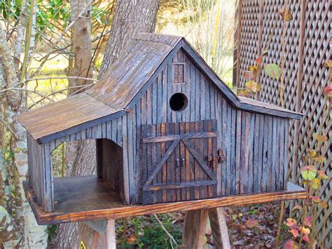 country farm shed birdhouse with tin roof country