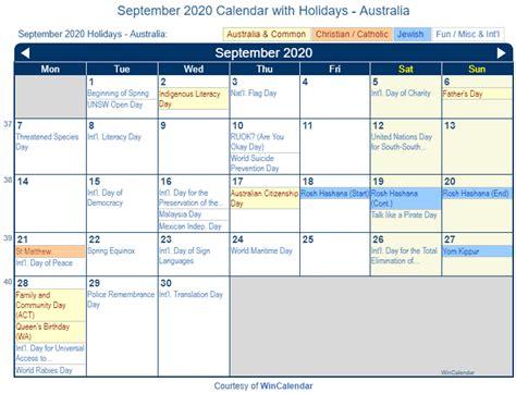 print friendly september  australia calendar  printing