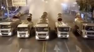 coronavirus airborne video shows mist cannons