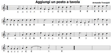testo canzone aggiungi un posto a tavola musica e spartiti gratis per flauto dolce
