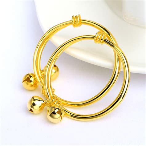 Gold Baby Gold 2 by 2piece Children S Bracelet Bangle Yellow Gold Filled