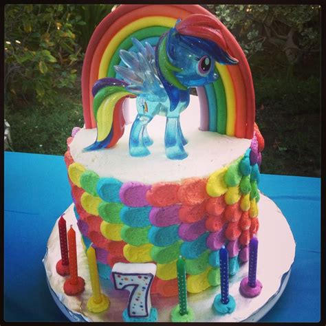rainbow dash cake i made for my daughter s 7th birthday