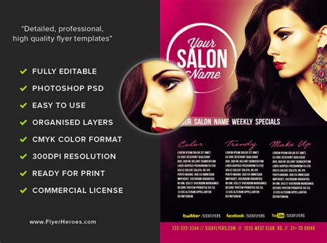 templates for salon flyers professional salon flyer template flyerheroes