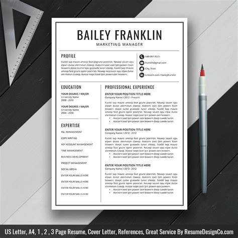 resumedesignco page 3 resume template resume bundle and planner inserts