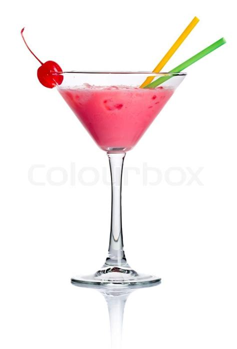 Infus Whitening Cocktail Pink Pink Cocktail In Martini Glass Isolated On White