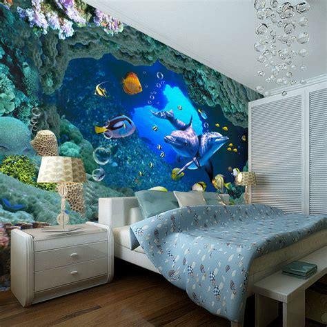 Handmade Wall Murals - 3d underwater world wallpaper custom wall mural