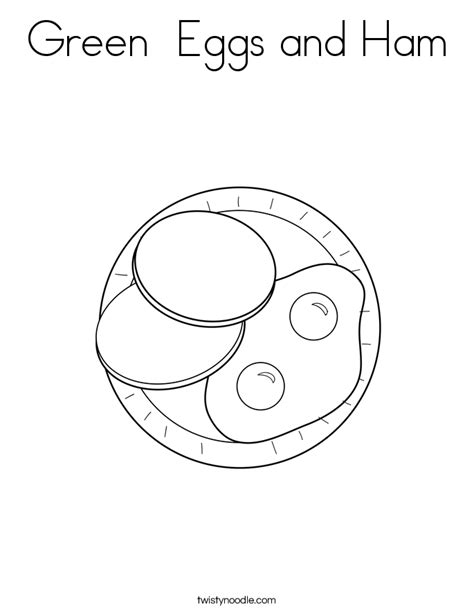 Green Eggs and Ham Coloring Page - Twisty Noodle