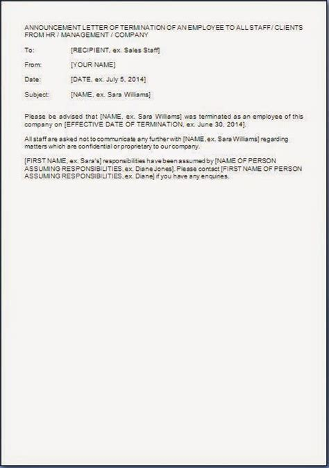 employee termination announcement template employee termination announcement email