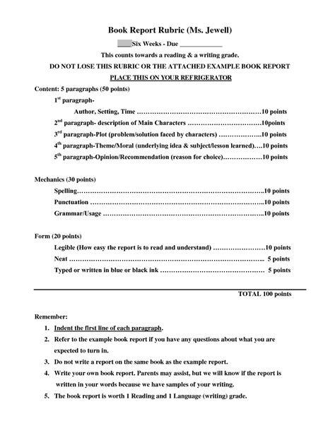 The wonderful Sample 4Th Grade Book Report Format – Google