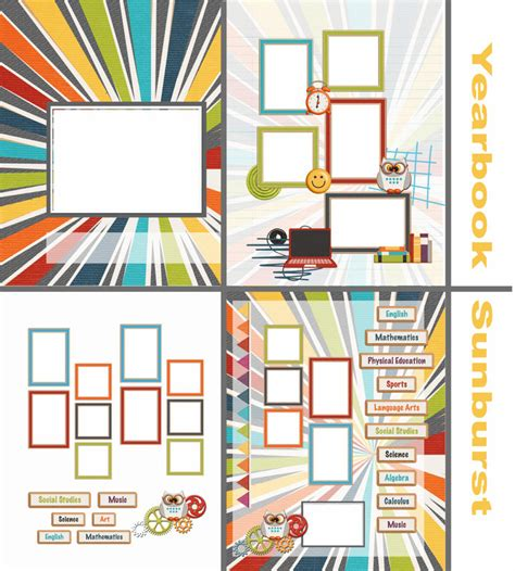 Free Yearbook Page Templates by Photo Book Template Yearbook Sunburst Album