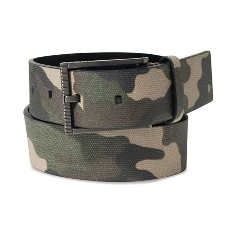 guess camo faux leather reversible belt in green for
