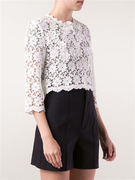 Lace Cardigan lyst oscar de la renta floral lace cardigan in white