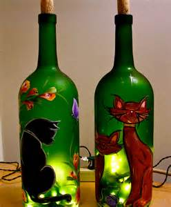 flaschen beleuchten lighted wine bottle painted cat decorative l
