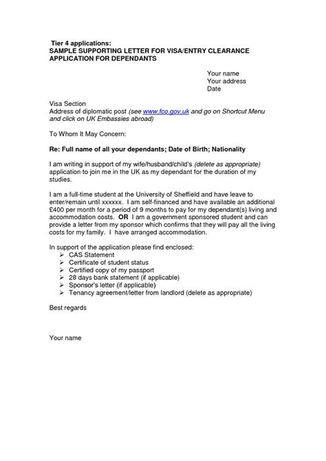 Support Letter For Family Visa Application Cover Letter Sle For Uk Visa Application Free