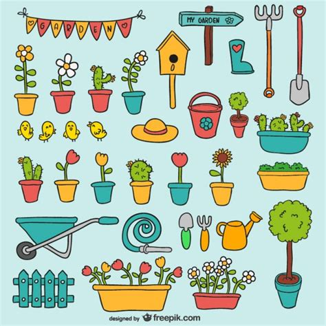 Gardening Vector Garden Elements Pack Vector Free
