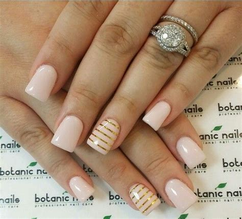 Gel Acrylic Nails by Light Pink Gold Stripes Gel Acrylic Nails Nails