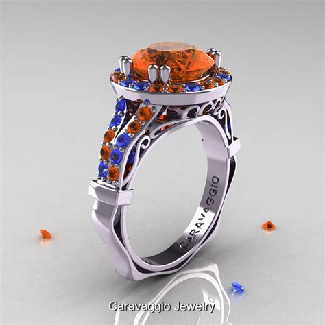 Blue Sapphire 12 3 Ct caravaggio 14k white gold 3 0 ct orange and blue sapphire