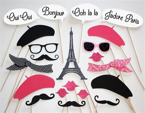 free printable paris themed photo booth props we ll always have paris photo booth party props 21 piece set