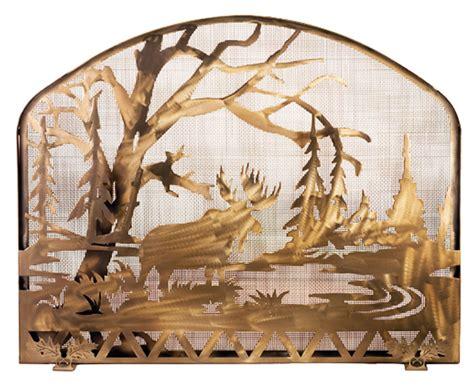 Moose Fireplace Screen meyda 98743 moose at lake fireplace screen