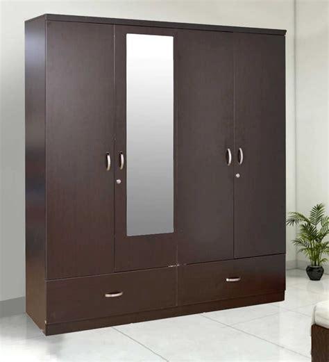 four door ellipse style wardrobe buy utsav four door wardrobe with mirror in wenge finish by hometown 4 door wardrobes