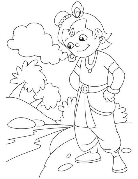 hindu gods krishna coloring pages sketch coloring page