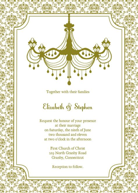 invitations templates free vintage chandelier wedding invitation template free
