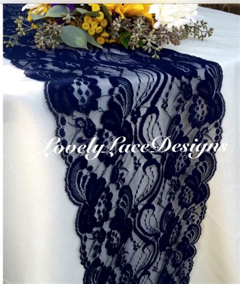 Navy Blue Table Runners Wedding by Navy Blue Lace Table Runner Navy Blue Wedding Decor