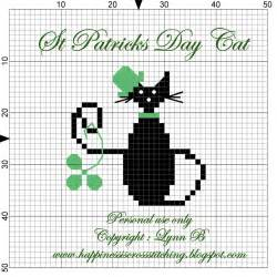 happiness is cross stitching st patrick s day cat cross