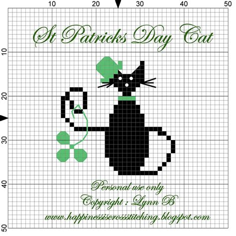 free pattern in cross stitch happiness is cross stitching st patrick s day cat cross
