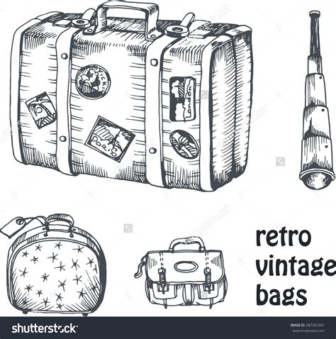 tattoo travel case vintage suitcase sketch vintage vector drawing set of