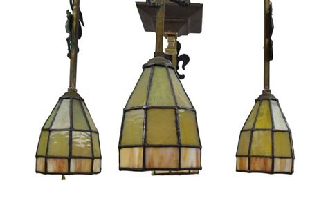 Mission L Shades by Arts And Crafts Chandelier With Emblems And Stained