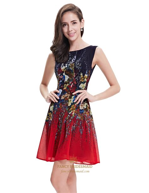 Blue Flowers Print Cocktail Dress and black sleeveless floral print chiffon