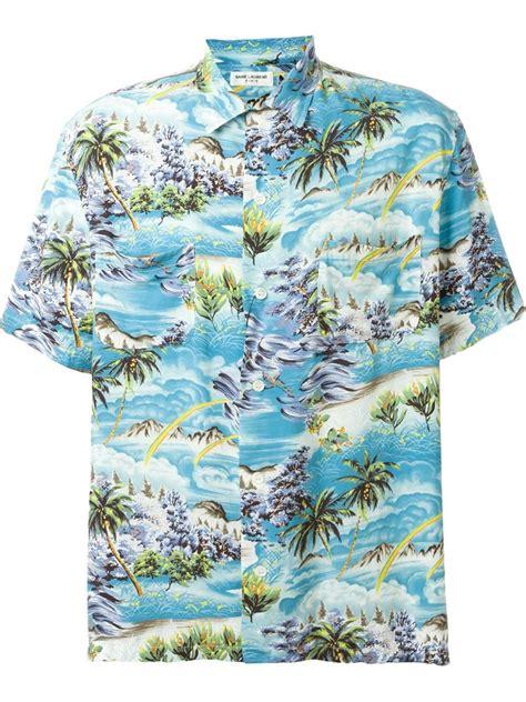 Kaos Ralph Laurent Surf lyst laurent surf print hawaiian shirt in blue for