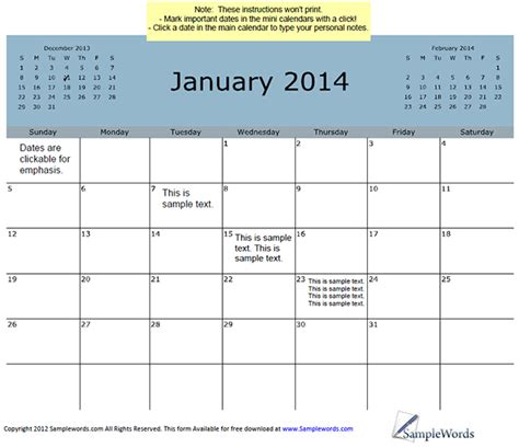 Calendar January 2014 January 2014 Calendar With 3 Month View