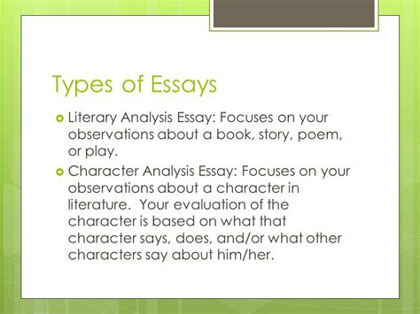 Types Of Literary Essays the essay ppt