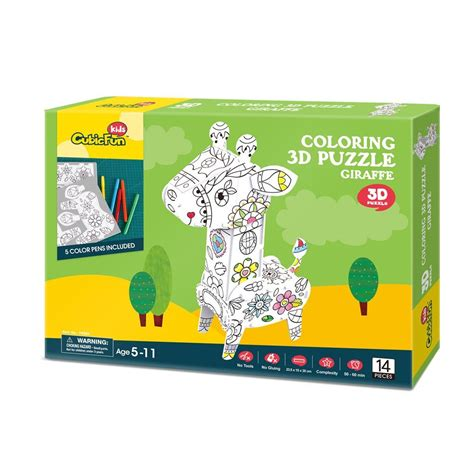 Promo Cubic Puzzle 3d Series Giraffe 3d puzzle coloring giraffe cubic p696h 14 pieces jigsaw puzzles animals jigsaw puzzle