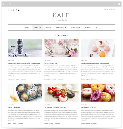 wordpress theme blog category kale pro food blog wordpress theme themes templates