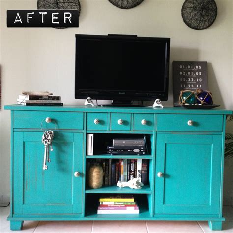 Turquoise Media Cabinet by Before After Distressed Turquoise Media Console Zania