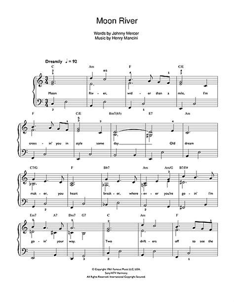 testo moon river spartito pianoforte moon river di frank sinatra