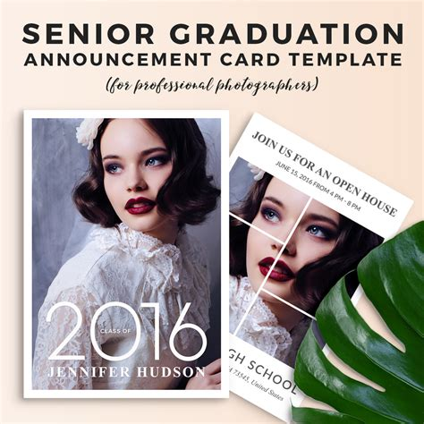 senior graduation announcement card template tory