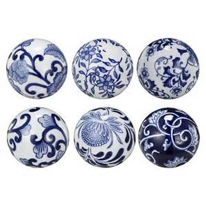 set of 6 decorative ceramic balls blue target