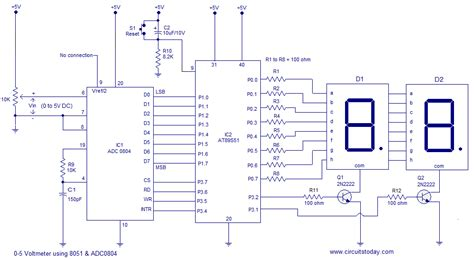 voltmeter in circuit diagram digital voltmeter using 8051 microcontroller at89s51 with