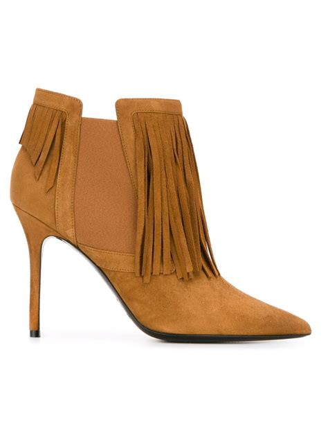 fringe ankle boots aperlai fringe ankle boots in brown lyst