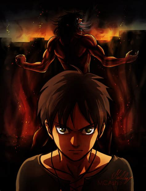 Kaos Anime Titan Rogue Eren Attack On Titan shingeki no kyojin fanart eren titan by mcashe on