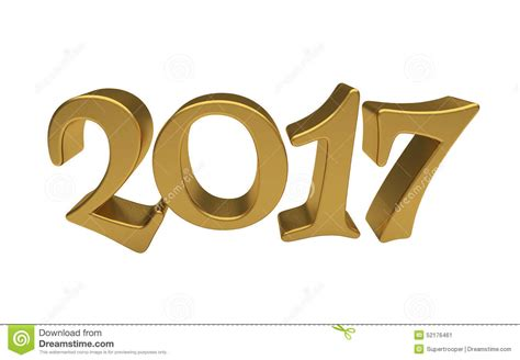 new year 2016 white background gold 2017 lettering isolated stock illustration image