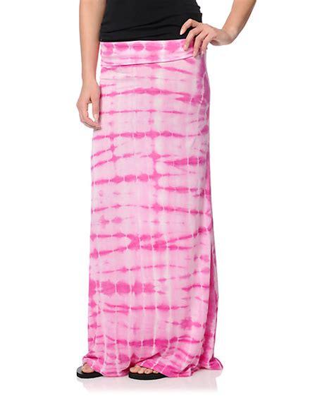 billabong midway pink tie dye maxi skirt