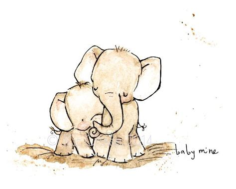 printable baby art nursery art baby mine elephant art print